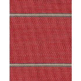 Cheyenne - Red - Striped fabric in deep red, with widely spaced narrow bands of cream-brown and dark grey