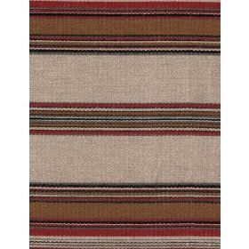 Chinook - Multi - Horizontally striped linen fabric featuring dark red, brown, grey and beige bands