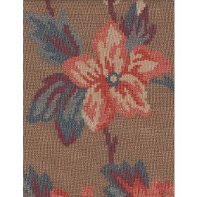 Iowa - Brick - Salmon pink and cream flowers with purple and blue leaves woven into brown cotton fabric