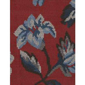 Iowa - Red - Shades of blue and grey woven into cotton fabric which is otherwise dark red in colour