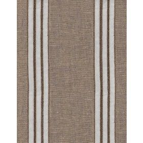 Apache - White - Repeated white and dark brown stripes on light brown coloured fabric made from linen