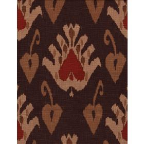 Sokoto - Rust - Fabric with dark blue background and red and beige floral effect pattern with leaves.