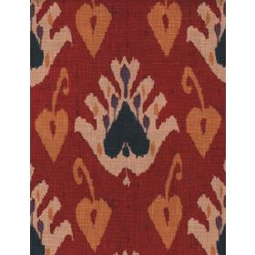 Sokoto - Red - Fabric with dark red background with beige floral effect pattern