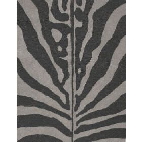 Arazova Linen - Black Grey - Linen fabric with grey background and zebra stripes