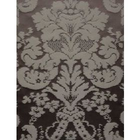 Quake - Coffee - Silk fabric with dark brown background with lighter bold floral pattern