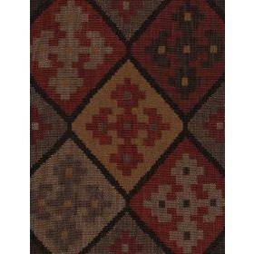 Corrientes - Brick - Cotton fabric with dark red background with lighter triangular shapes containing floral pattern