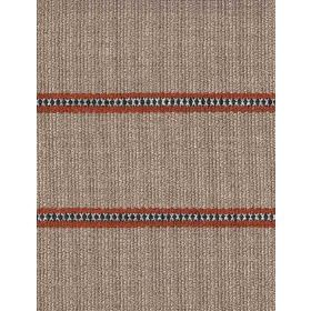 Creel - Rust - Linen fabric with beige background and rust horizontal dotted stripes