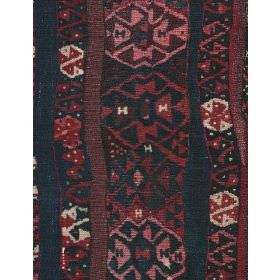 Fez - Rust - Cotton fabric in dark red with dark vertical stripes and geometric floral shapes in pink and white