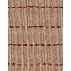Laundry - Red - Cotton fabric with brown background and dark red stripes