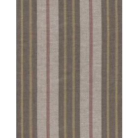 Manosque - Lime Fig - Linen fabric with grey, dark green and red stripes