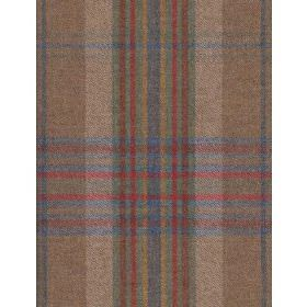 Monty - Denim - Fabric with beige back ground and green, grey and red plaid effect