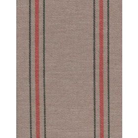 Newlyn - Red Flint - Cotton fabric with grey background and red and green stripes