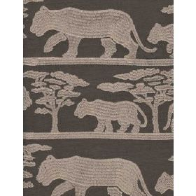 Pride Linen - Taupe - Linen fabric with beige background and lght panther and tree shapes