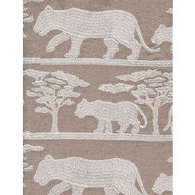 Pride Linen - Ecru - Linen fabric with beige background and light panther and tree shapes