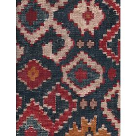 Safi - Multi - Cotton fabric with dark background and dark red and buff multi shapes