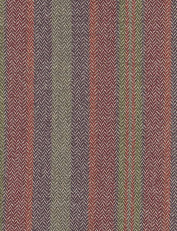 Corcovado - Multi - 100% lambswool fabric featuring a herringbone weave in light grey, dark purple, red, burgundy, blue and green