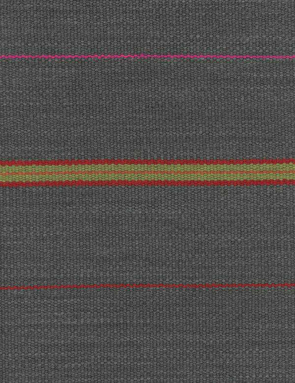 Corumba - Charcoal - A thin, bright magenta line and red, green and orange stripes woven into blue-grey fabric made from various materials