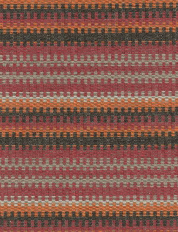 Cuchillas - Multi - Interlocking zip style horizontal lines on black, grey, claret and orange cotton, wool, linen and polyamide blend fabric