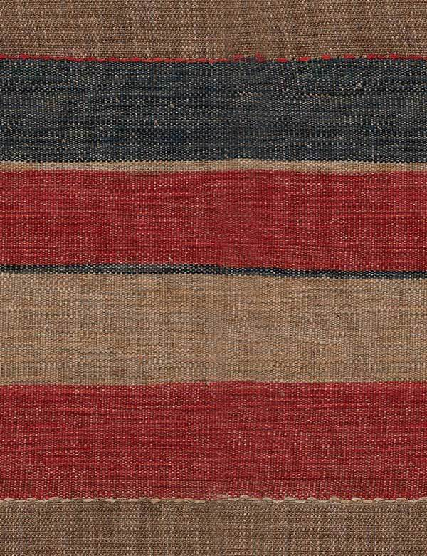 Es Cavallet - 2 - Viscose, cotton, linen and polyester blend fabric featuring wide horizontal stripes inblack, chocolate brown & scarlet