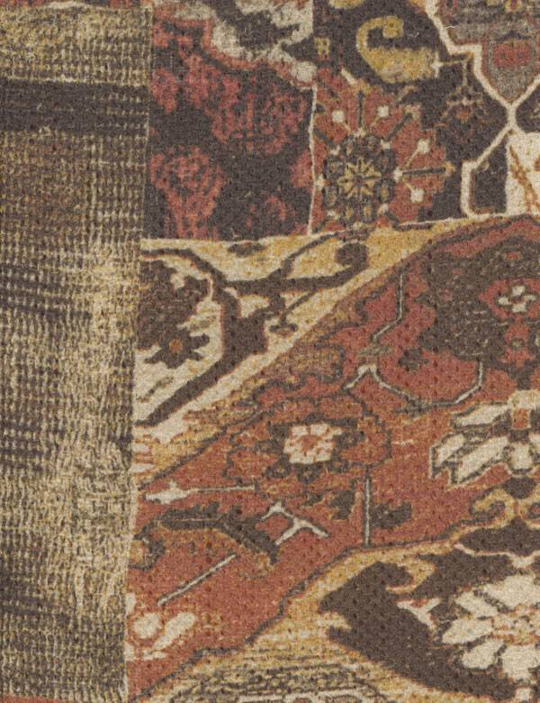 Bahama - Brick - Brick red, dark brown and light gold coloured fabric featuring a patchwork style design of various detailed patterns