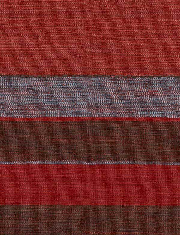 Es Cavallet - 3 - Wide horizontal stripes patterning viscose, cotton, linen and polyester blend fabric in pepper red and red-blue colours