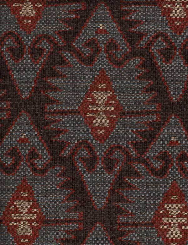 Espiga - Blue - Sophisticated tribal style designs covering cotton, viscose and linen blend fabric in elegant black, grey and burgundy