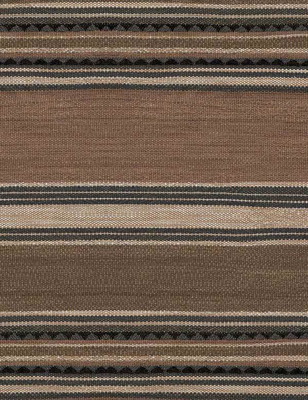Las Salinas - 1 - Cotton, viscose and linen fabric made in brown, cream, black and dark grey, with solid and scalloped horizontal stripes