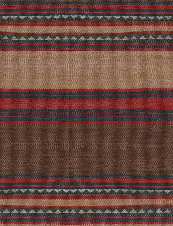 Las Salinas - 2 - Earthy red, brown and grey tones making up a horizontal stripe design on cotton, viscose and linen blend fabric