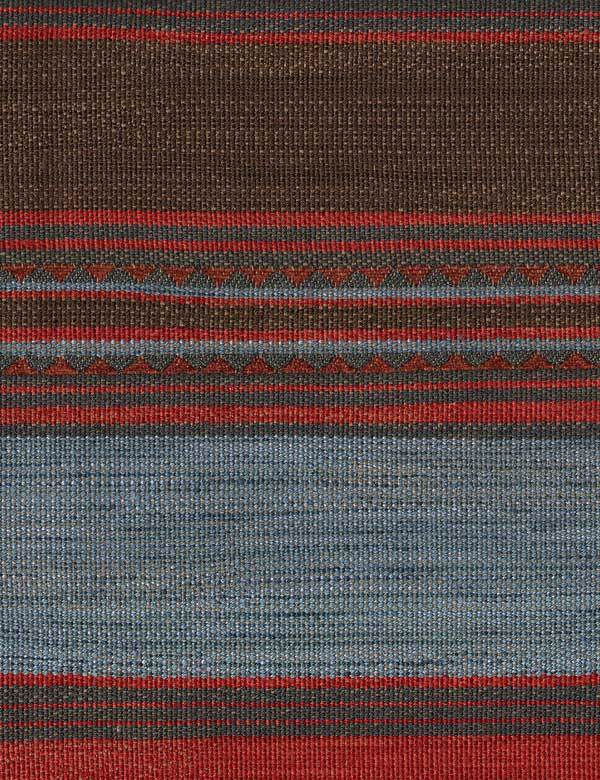 Las Salinas - 3 - Horizontal stripes and triangles woven into cotton, viscose and linen blend fabric in dark brown, red and shades of grey