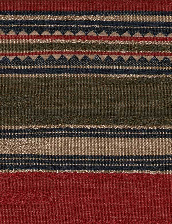 Las Salinas - 4 - Dark shades of green, red, beige and midnight blue making up a cotton, viscose and linen fabric with horizontal stripes