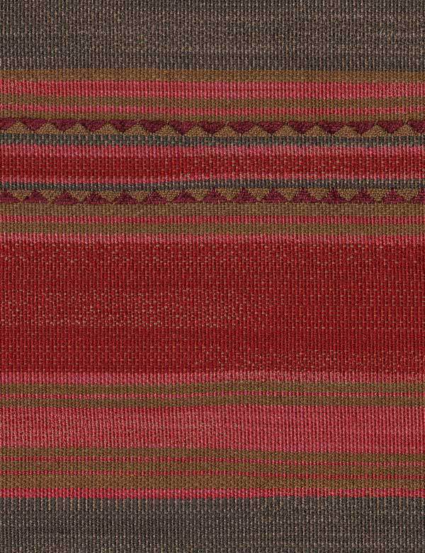 Las Salinas - 5 - Fabric made from cotton, viscose and linen, featuring horizontal stripes & triangles in red, pink, brown, purple & grey