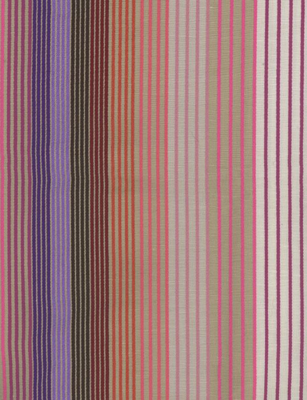 Margarita - Multi - Light, bright pink, purple & grey colours making up a vertically striped linen, viscose, polyester & cotton blend fabric
