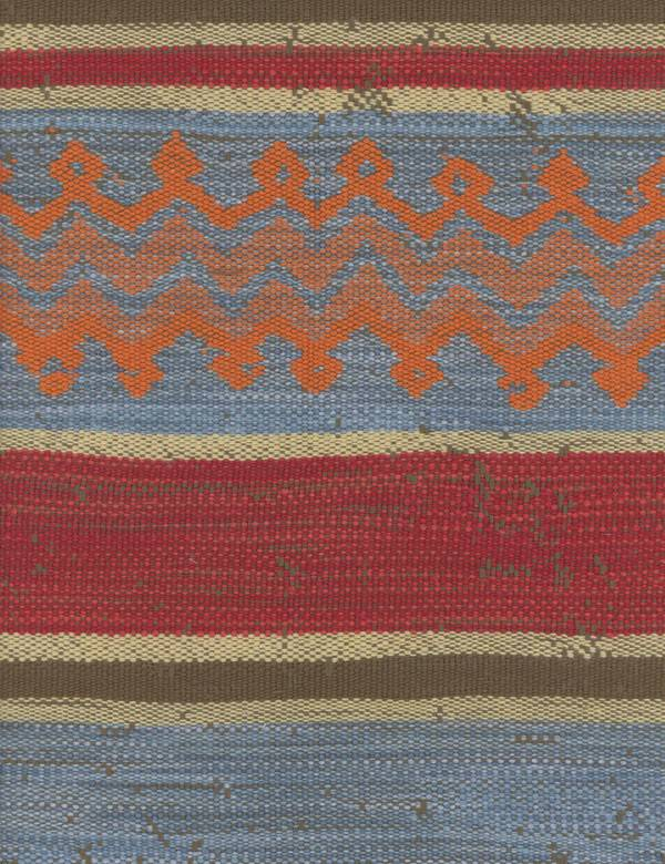 Najasa - Clementine - Zigzags, stripes & tribal lines woven into cotton, linen, polyester & viscose fabric in orange, red, grey, beige & blu