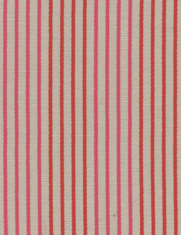 Bombinhas - Coral - Linen, viscose, polyester & cotton blend fabric in grey, with thin, evenly spaced hot pink & chili red vertical stripes