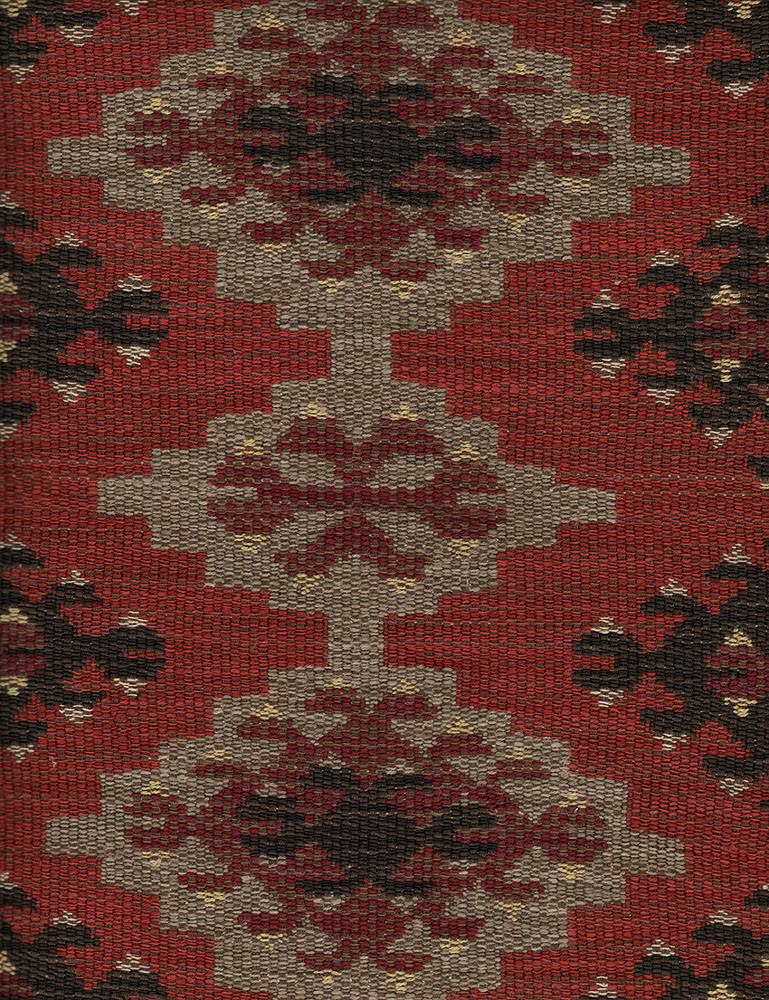 Orillo - Brick - Fabric made from cotton, viscose and linen with an ethnic tribal style pattern in dark burgundy, black, grey & blood red