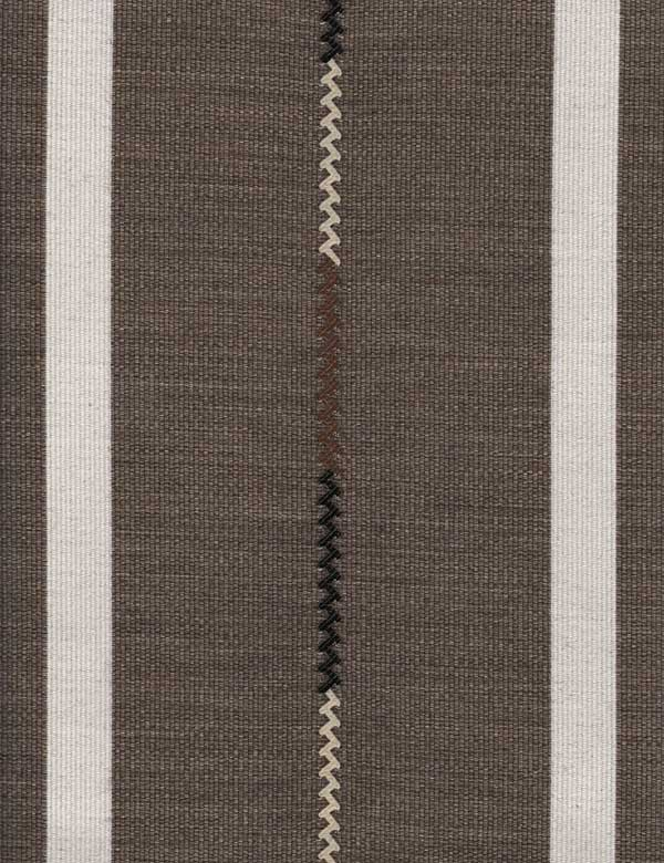 Panama - Taupe - Stripes and thin zigzags creating a white, black and dark brown design on gunmetal grey cotton, wool & polyamide fabric