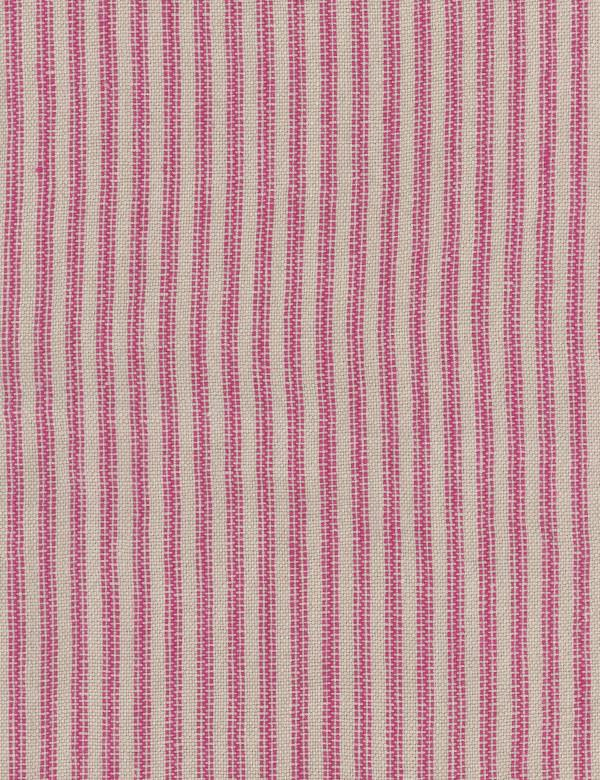 Pico - Pink - A bold vertical stripe design running down 100% linen fabric in light grey and a bright but dark shade of pink
