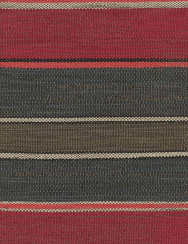 Santos - Red - Cotton, linen, polyester & viscose blend fabric woven with claret, coral, charcoal, black & pale grey horizontal stripes