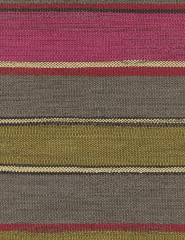 Santos - Pink - Bubblegum pink, cream, mulberry, grey and black horizontal stripes woven into cotton, linen, polyester & viscose fabric