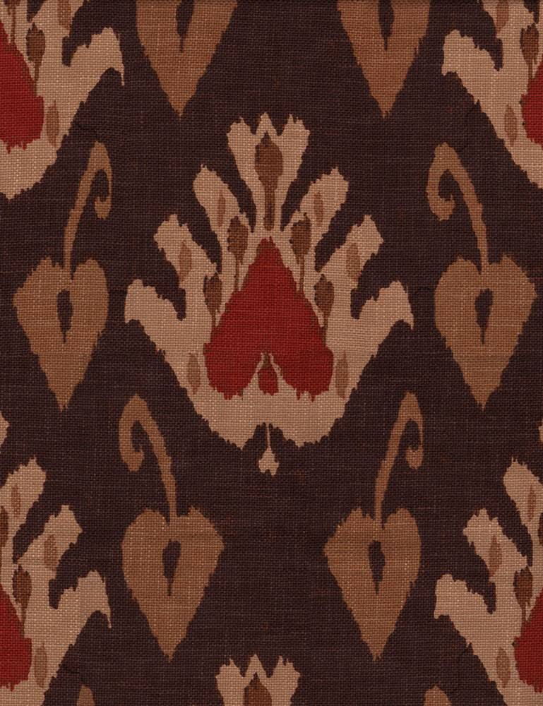 Sokoto - Rust - Brick red and warm, indulgent shades of brown making up a stylish, modern tribal design on rayon fabric