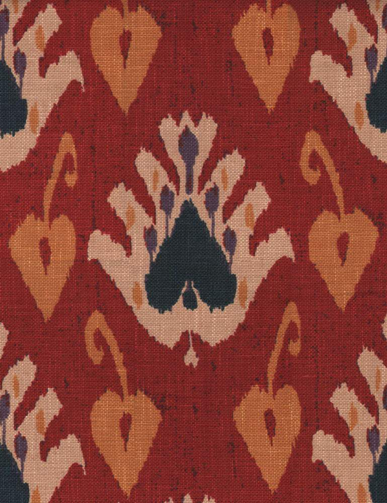 Sokoto - Red - Stylish, modern tribal designs covering rayon fabric made in warm cream, midnight blue, dark orange and scarlet colours