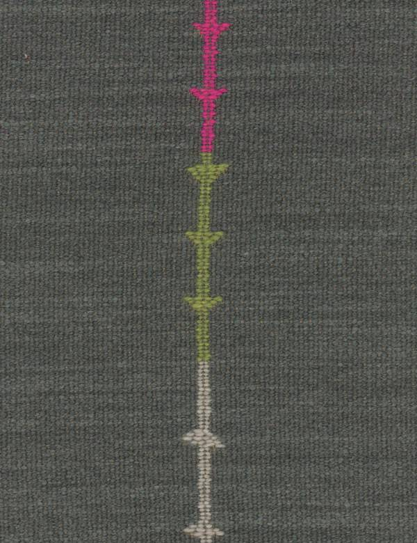Yumuri - Multi - Charcoal coloured fabric woven from various materials, with thin vertical lines & arrows in bright magenta & apple green