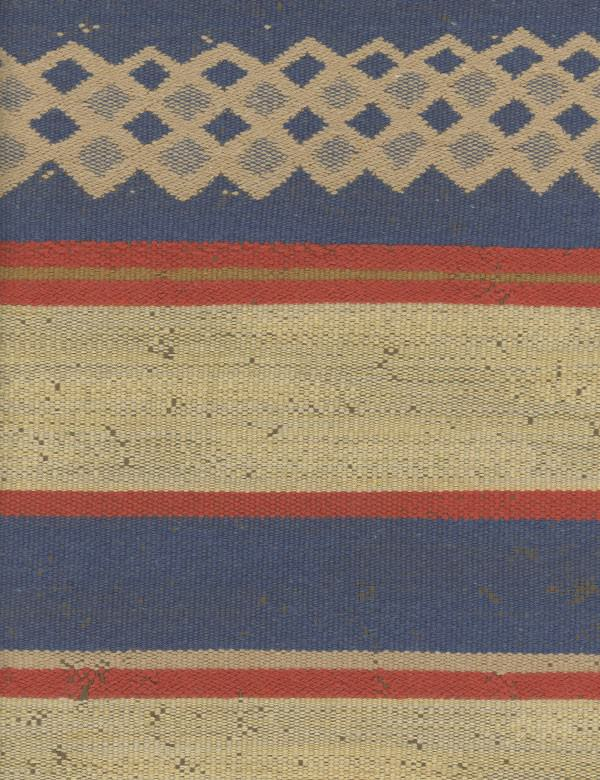 Campinas - Brick - Ethnic style cotton, linen, polyester and viscose blend fabric woven with a lattice & stripes in beige, blue, red & gold