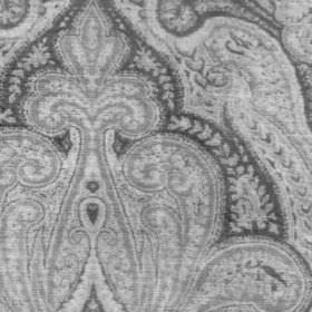 Garett - Charcoal - Very intricate, detailed patterns covering viscose, cotton and polyester blend fabric in light and dark shades of grey