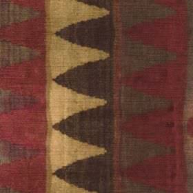 Ladder - Brick - Rows of triangles running down viscose, cotton and polyester fabric in dark shades of grey, brown, maroon and light gold