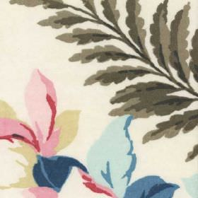 Magnolia - Multi - White cotton and polyester blend fabric printed with flowers and leaves in bright, fresh pink, blue, cream & grey tones
