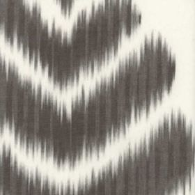 Merchant - Charcoal - Large charcoal coloured chevrons with rough, blurred edges printed on a white cotton and polyester fabric background