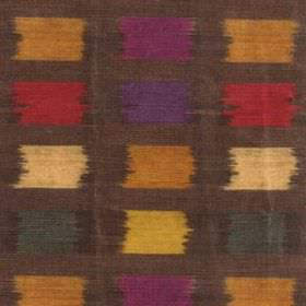 Palette - Multi - A large, rough grid pattern on viscose, cotton and polyester fabric in dark brown, gold, red, purple, green and cream