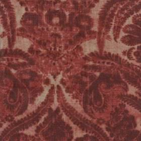 Argent - Red - Light reddish cream coloured viscose, cotton and polyester blend fabric printed with luxurious burgundy coloured patterns