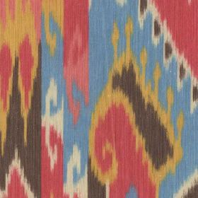 Blanket - Multi - Tribal style patterns printed on 100% cotton fabric in a fun, bright red, white, gold, grey and sky blue colour palette